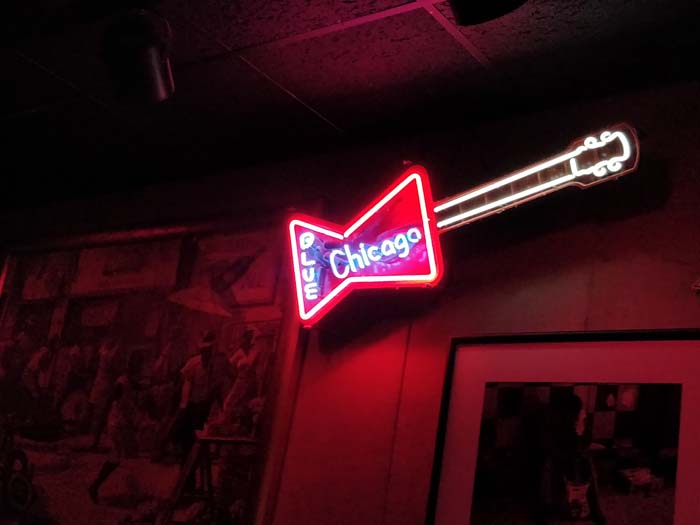 Neon sign above the bar