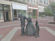 Lincoln family statues opposite Old State Capitol, Springfield, Illinois