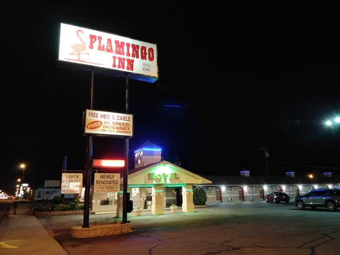 Flamingo Inn Elk City OK at night