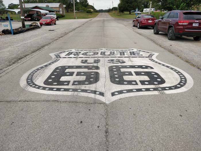 Route 66 in front of Gay Parita Sinclair Station