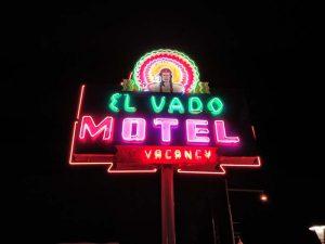 El Vado Motel sign at night