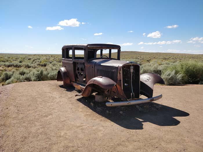 Route 66 marker, 1932 Studebaker, #1