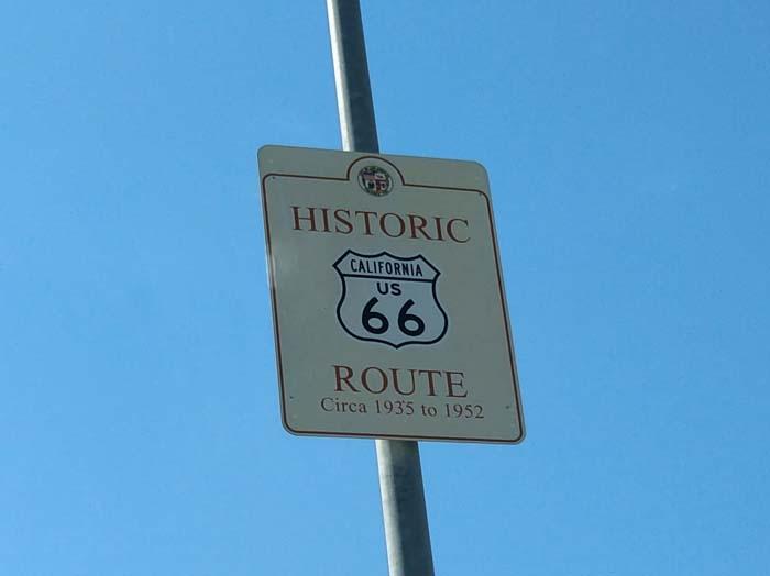 Route 66 sign on Santa Monica Boulevard, LA